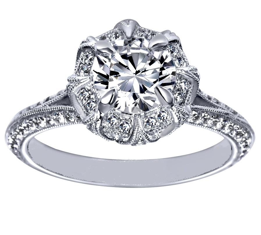 Victorian Halo Engagement Ring in 14K White Gold