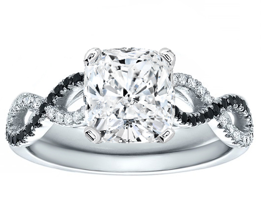 Cushion Cut Diamond Black & White Infinity Engagement Ring in 14K White Gold