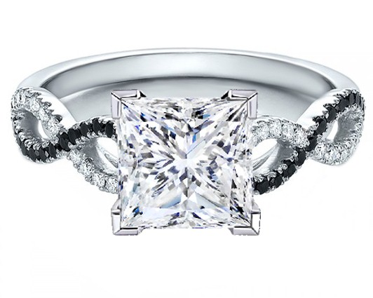 Princess Cut Diamond Black & White Infinity  Engagement Ring in 14K White Gold