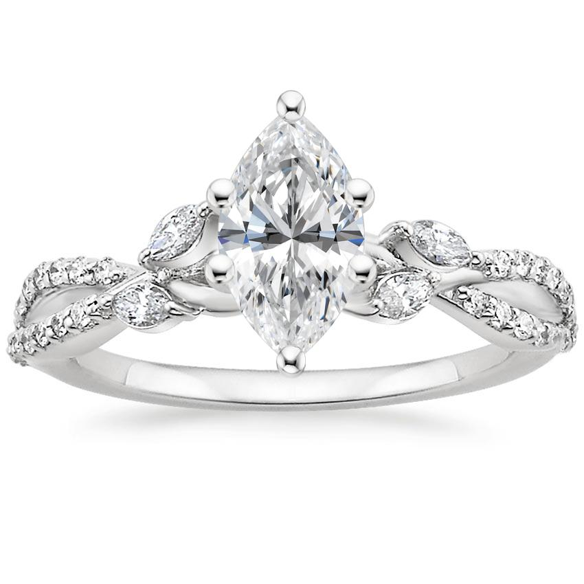Marquise Diamond Engagement Ring Floral Vine