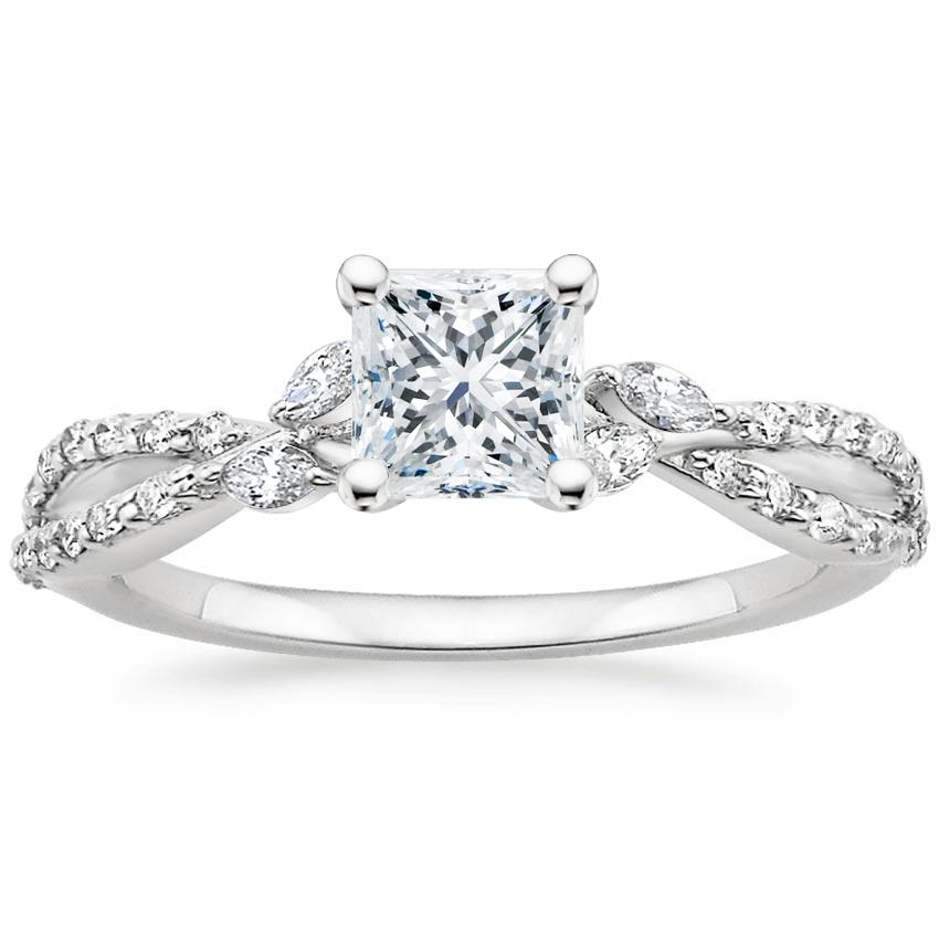 Princess Diamond Engagement Ring Marquise Floral Vine