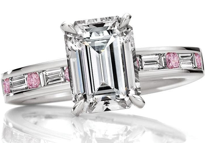 Emerald Cut Diamond Engagement Ring Natural Fancy Pink Diamonds Platinum Band