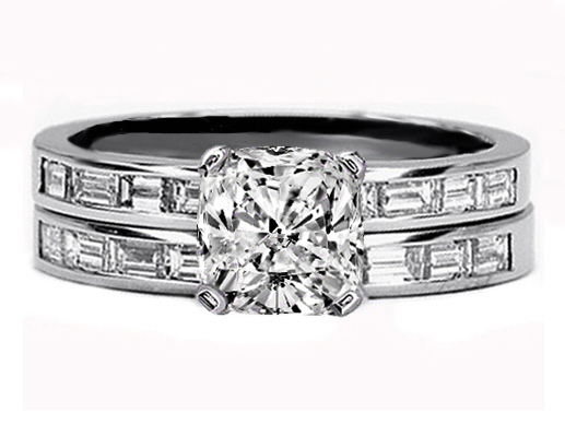 Baguette Diamond 14K White Gold Engagement Ring and Matching Wedding Band Bridal Set 0.75 tcw.