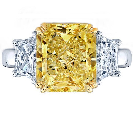 Fancy Yellow Radiant Diamond Ring Large Trapezoids Side stones