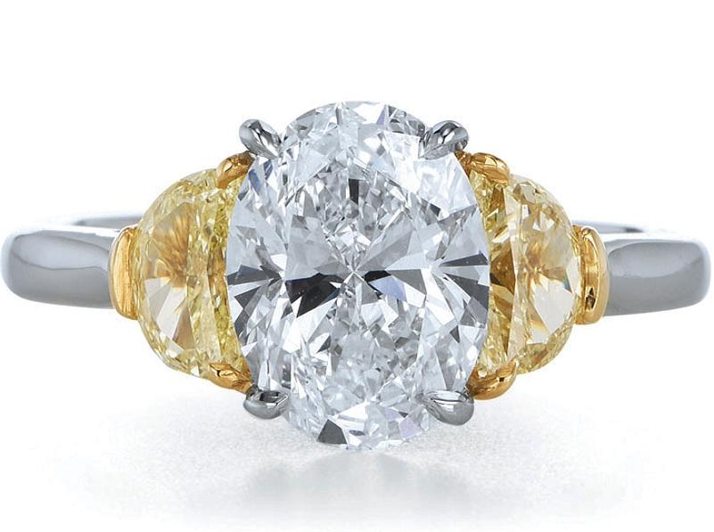 Oval Diamond Engagement Ring Fancy Yellow Half Moon Side Stones