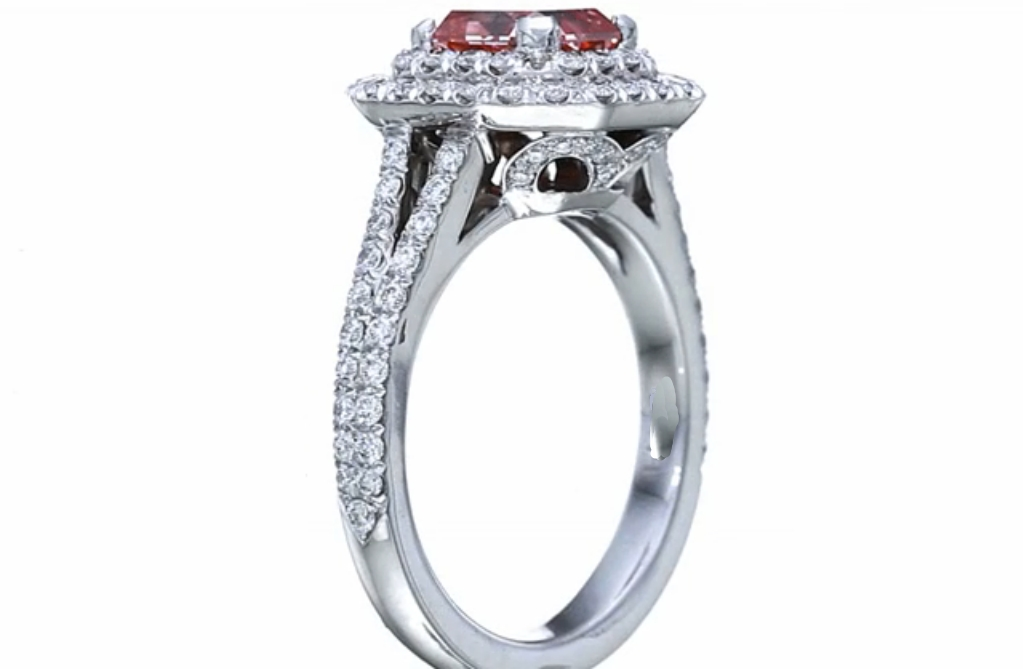 Fancy Pink Diamond Radiant Cut Engagement Ring