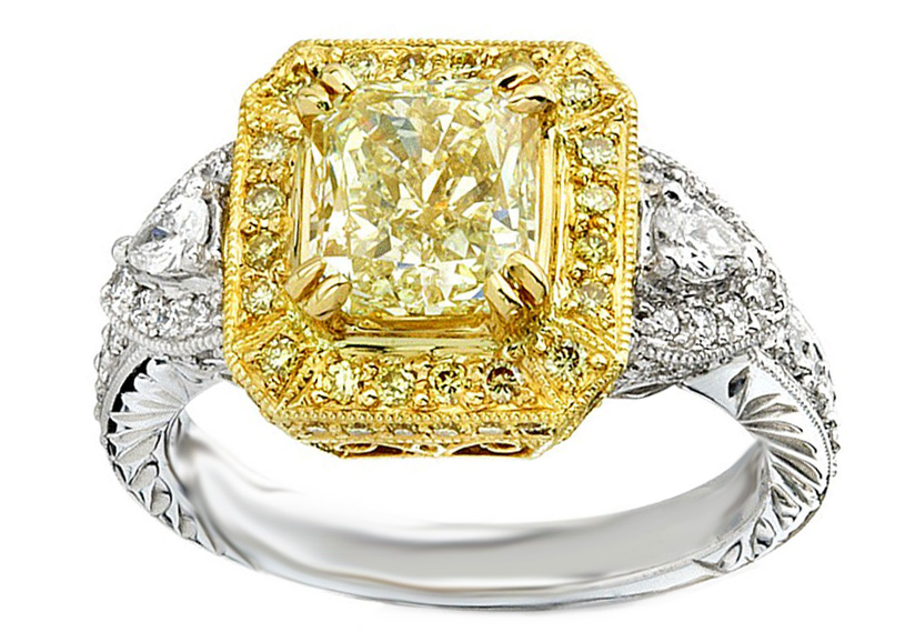 Fancy Yellow Radiant Cut Diamond Vintage Halo Ring Pear Side stones