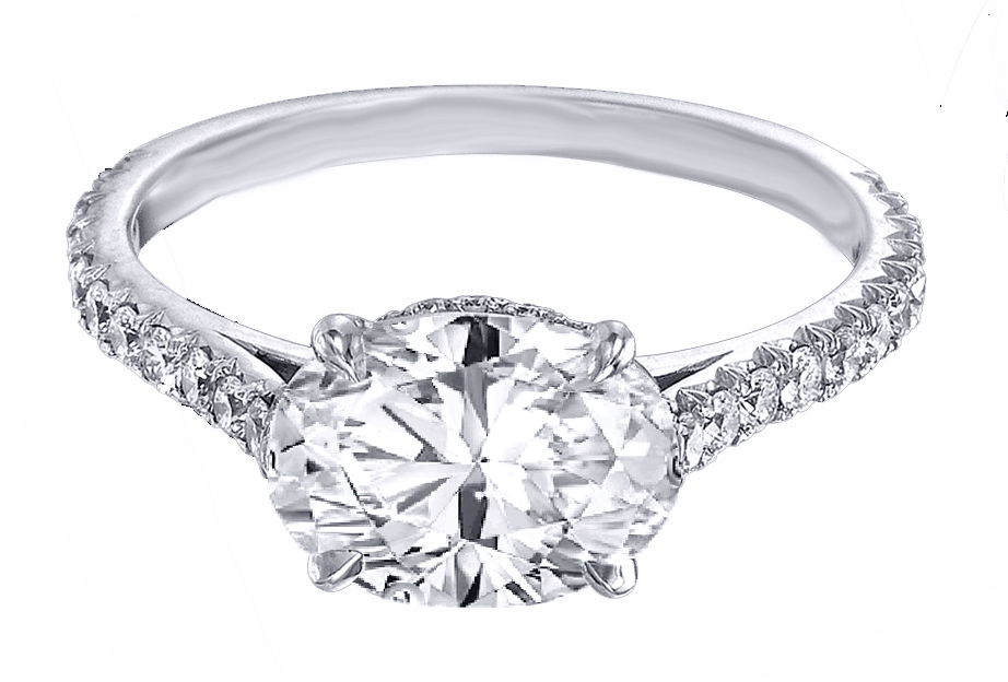 Oval Diamond Horizontal Engagement Ring Pave Gallery and band