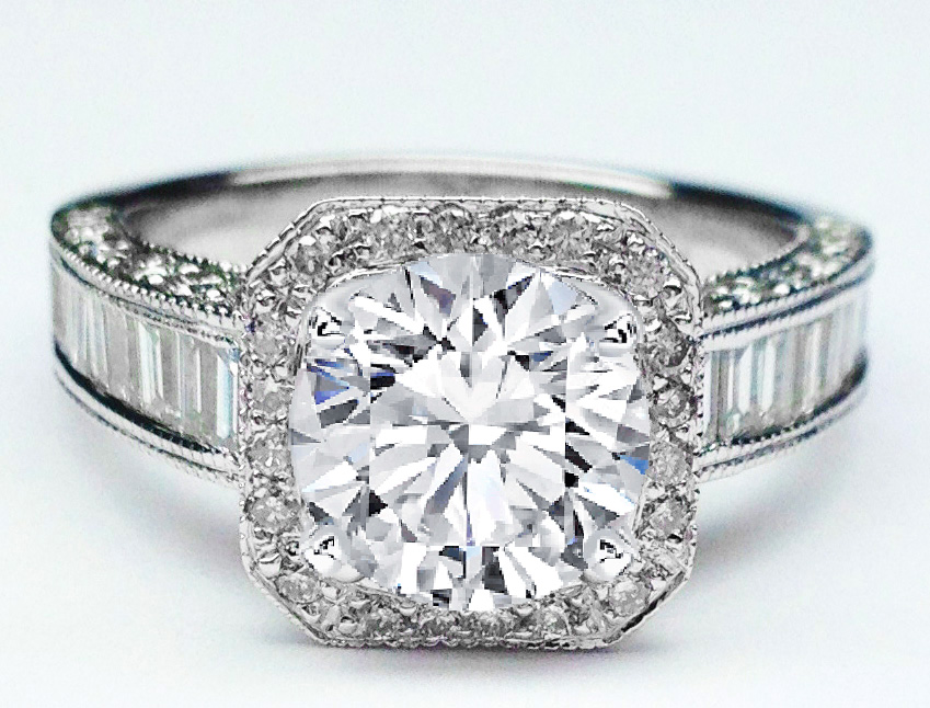 Diamond Halo Baguettes Band Engagement Ring in 14K White gold