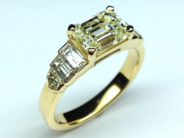 Horizontal Emerald Cut Diamond Step Up Engagement Ring in 14K Yellow Gold