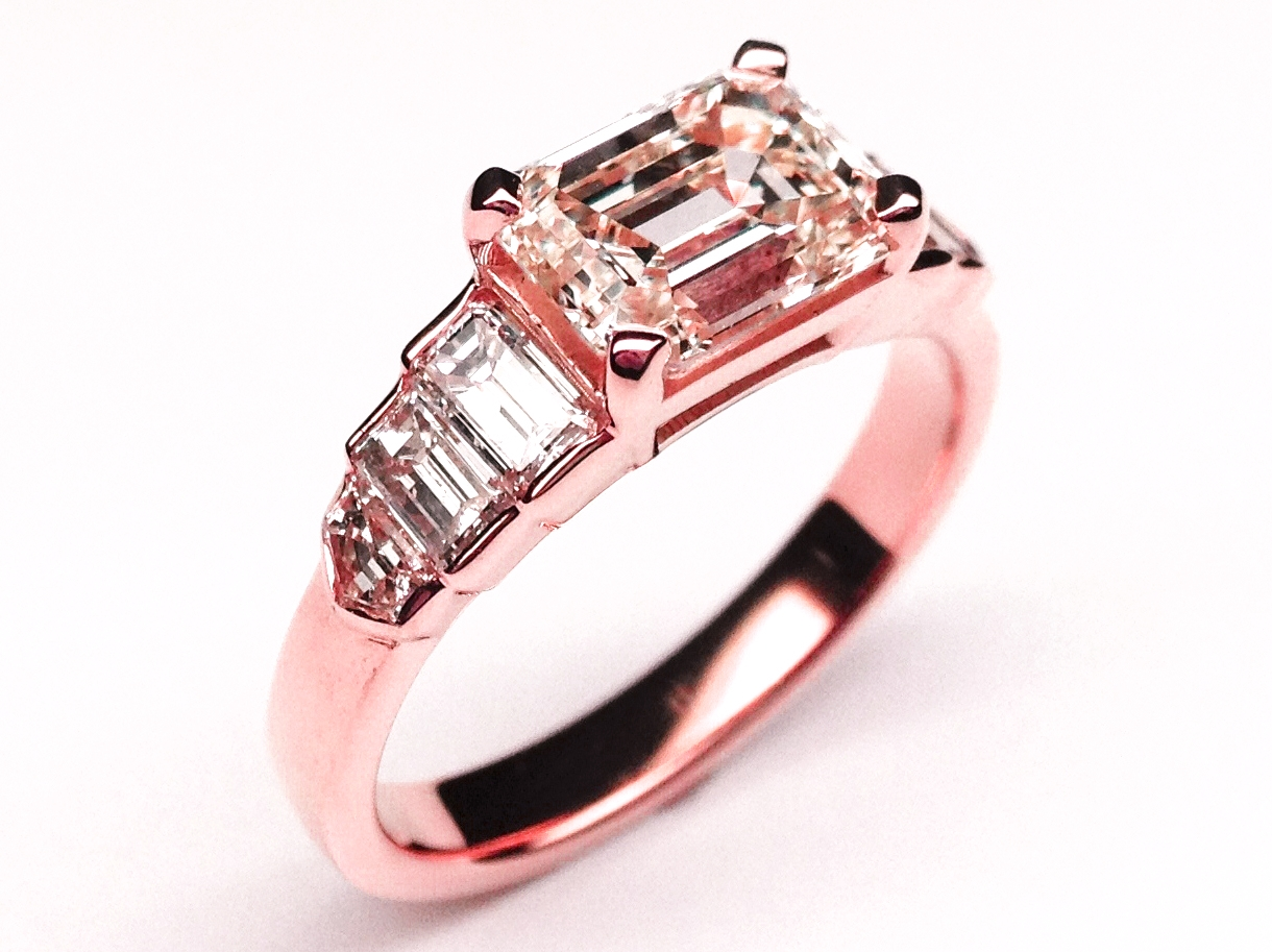 Horizontal Emerald Diamond Cut Step Up Engagement Ring in 14K Pink Gold