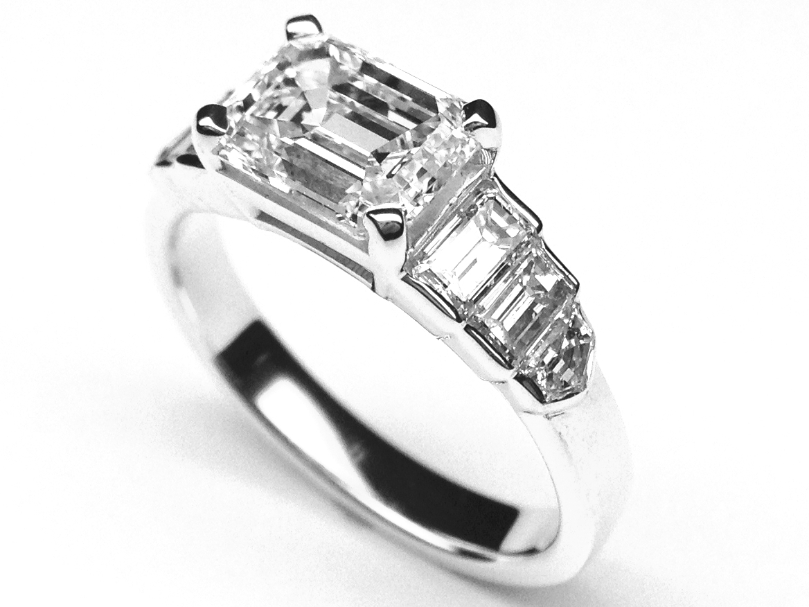 Horizontal Emerald Cut Diamond Step Up Engagement Ring in 14K White Gold