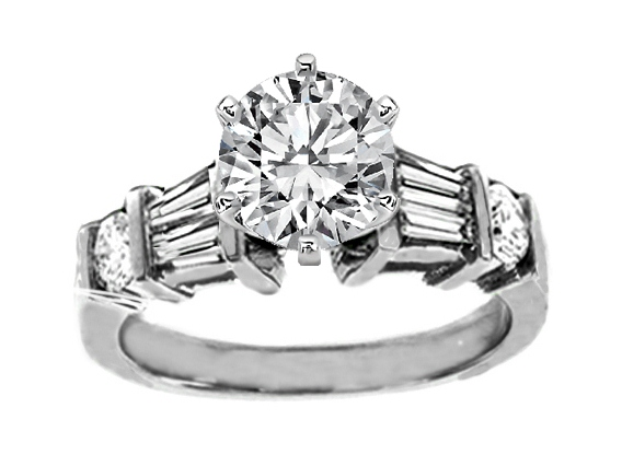 Double Tapered Baguettes & Round Diamonds Engagement Ring 0.54 tcw. In 14K White Gold