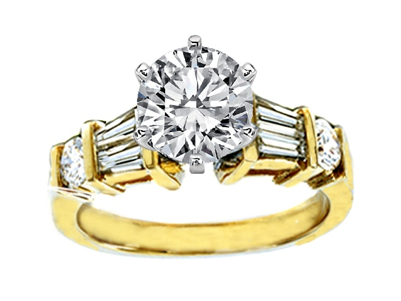 Double Tapered Baguettes & Round Diamonds Engagement Ring  0.54 tcw. In 14K Yellow Gold