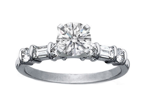 Alternating Round and Baguette Diamonds Engagement Ring 0.4 tcw. In 14K White Gold