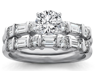 Round & Baguette Diamond Engagement ring & Wedding band: Bridal Set in 14k White Gold