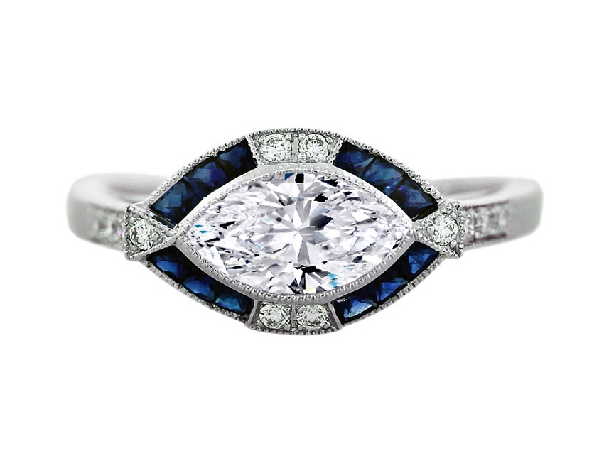Horizontal Marquise Diamond Art Deco Engagement Ring in 14K White Gold