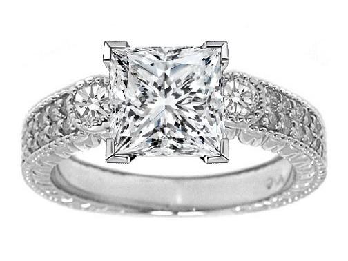 Three Stone Princess Diamond Vintage Style Engagement Ring with Round