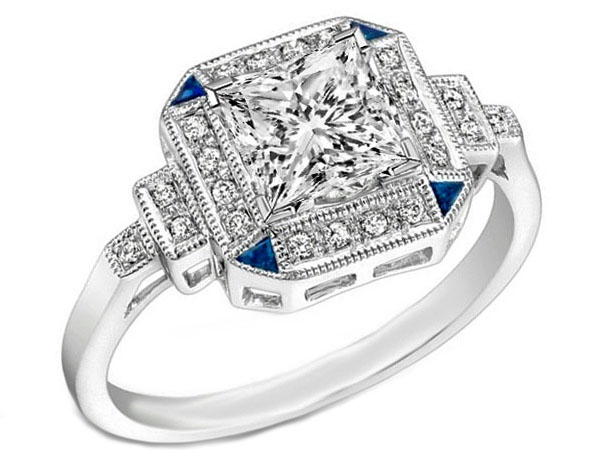 Art Deco Princess Diamond Step Up Engagement Ring Blue Accents