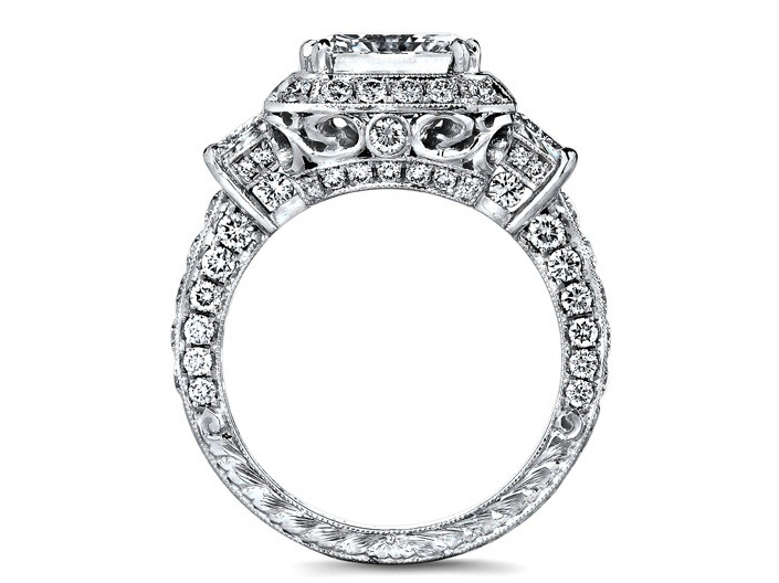 Radiant Cut Diamond Engagement Ring Brilliant Trapezoid Side Stones Engraved Pave Band