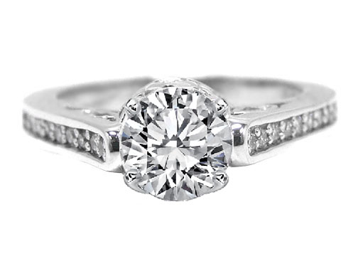 Antique Style  Pave Set Engagement Ring 0.28 tcw. in 14K White Gold