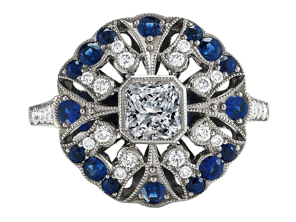 Radiant Diamond Art-Deco Engagement Ring