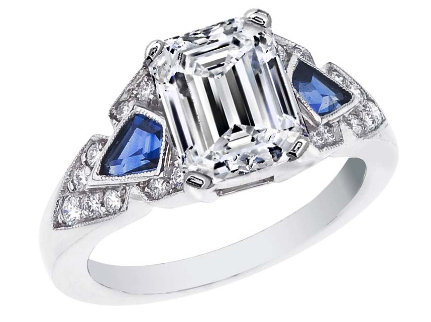 Emerald Cut Diamond Engagement Ring Blue Sapphire Shields