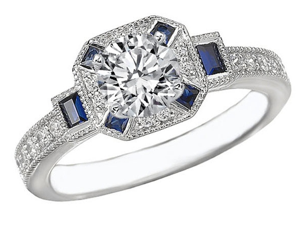 Octagon Halo Diamond Engagement Ring Blue Sapphire Baguettes