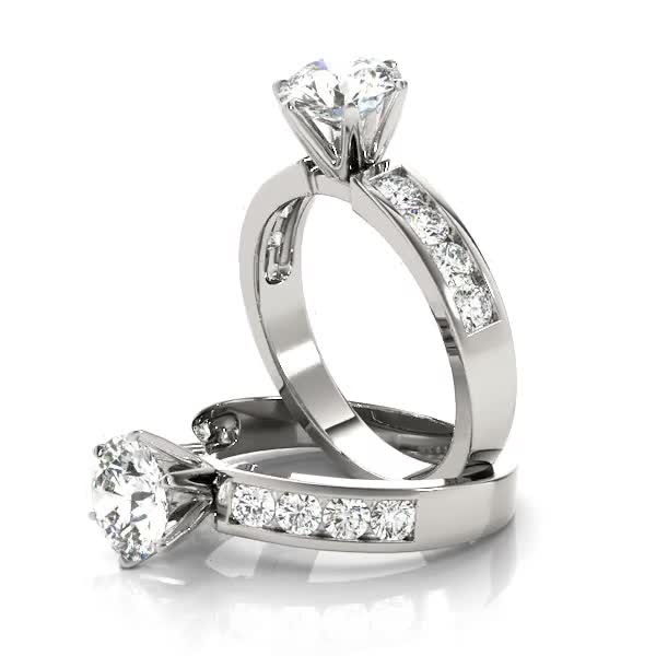Solitaire Engagement Ring with Diamond Band