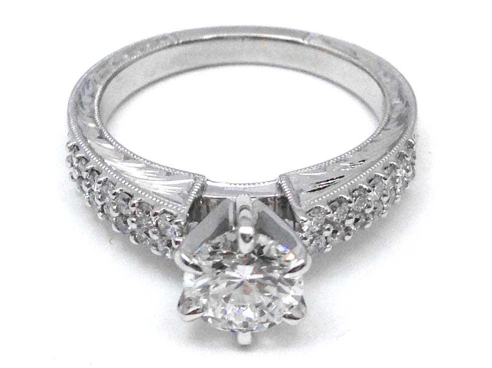 Hand Engraved Diamond Engagement Ring Double Row Band in 14K White Gold
