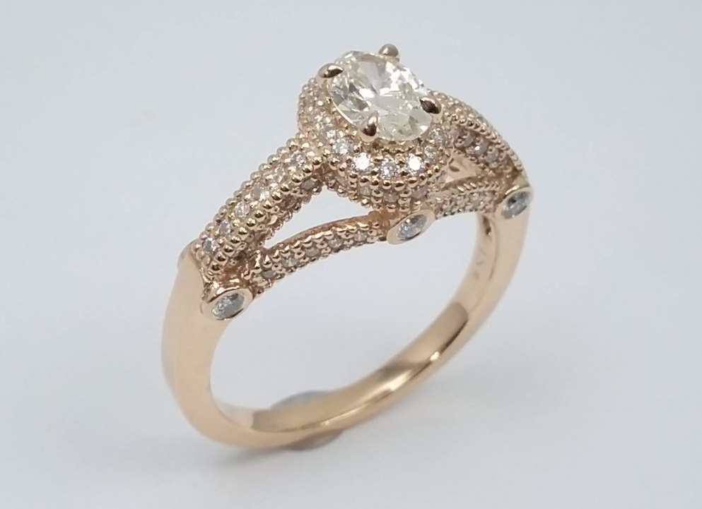 Oval Diamond Legacy Style Engagement Ring In 14K Rose Gold