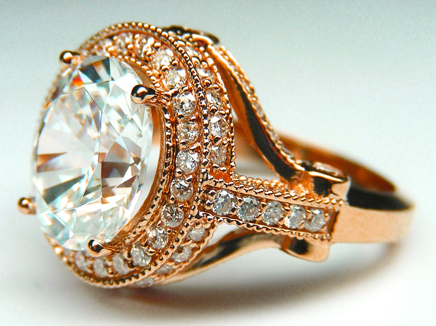 Oval Diamond Legacy Style Engagement Ring 0.57 tcw. In 14K Pink Gold