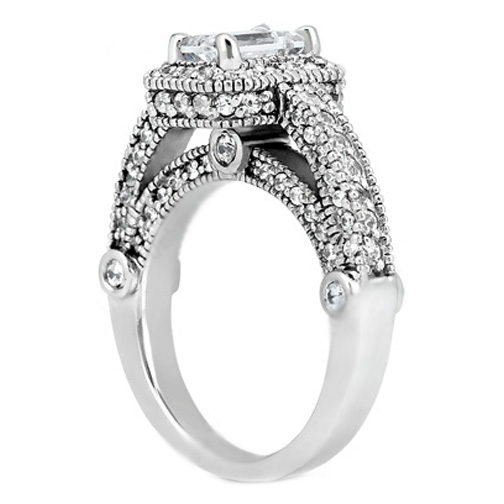 Cushion Diamond Legacy Style Engagement Ring in 14K White Gold 1.05 tcw.