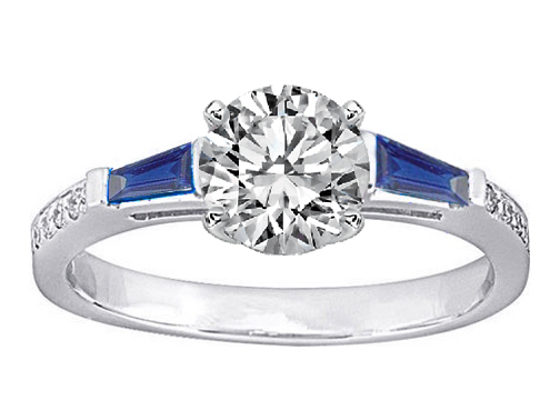 Blue Sapphire Baguettes and Diamonds Engagement Ring 0.64 tcw. In 14K White Gold