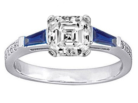 Asscher Engagement Ring Blue Sapphire & Diamonds accents 0.64 tcw. In 14K White Gold