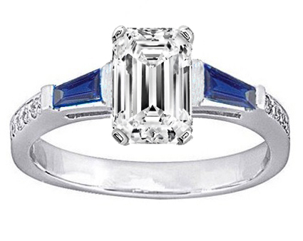 Emerald Engagement Ring Blue Sapphire & Diamonds accents 0.64 tcw. In 14K White Gold