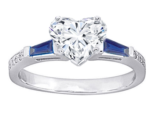 Heart Diamond Engagement Ring Blue Sapphire and Diamonds Accents  0.64 tcw. In 14K White Gold