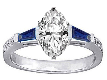 Oval Engagement Ring Blue Sapphire & Diamonds accents 0.64 tcw. In 14K White Gold