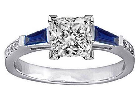 Princess Engagement Ring Blue Sapphire & Diamonds accents 0.64 tcw. In 14K White Gold