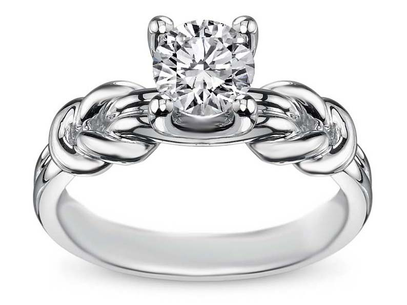 Double Love Knot Solitaire Engagement Ring in 14K White Gold