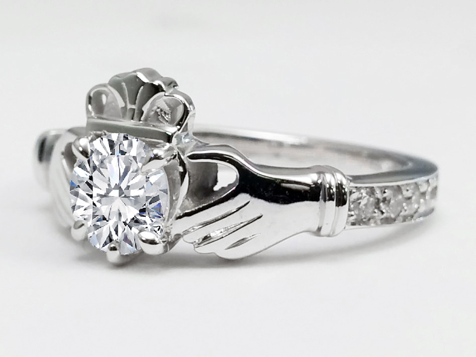 Round Diamond Claddagh Engagement Ring in 14K White Gold