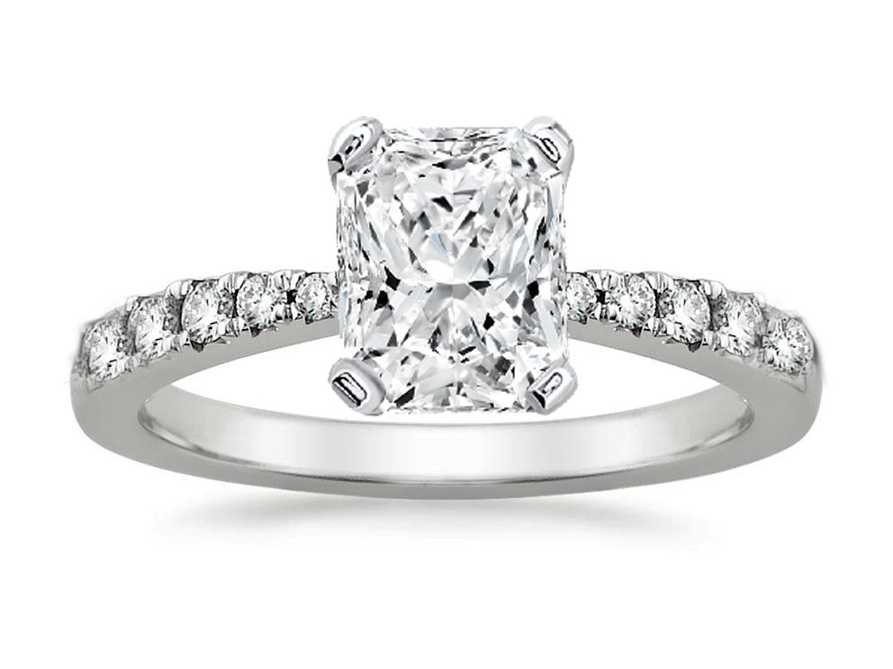 Freccia Radiant Diamond Engagement Ring 0.15 tcw in 14K White Gold