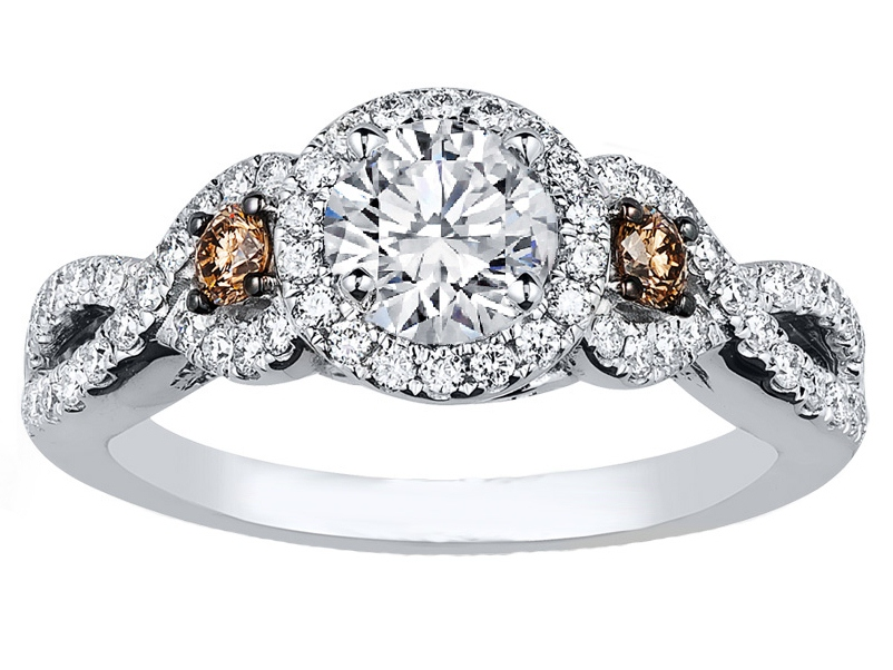 Infinity Halo Chocolate Diamonds Engagement Ring in 14K White Gold