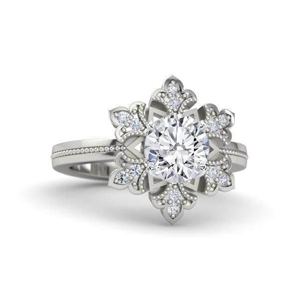 Floral Diamond Engagment Ring Beaded Band in 14K White Gold
