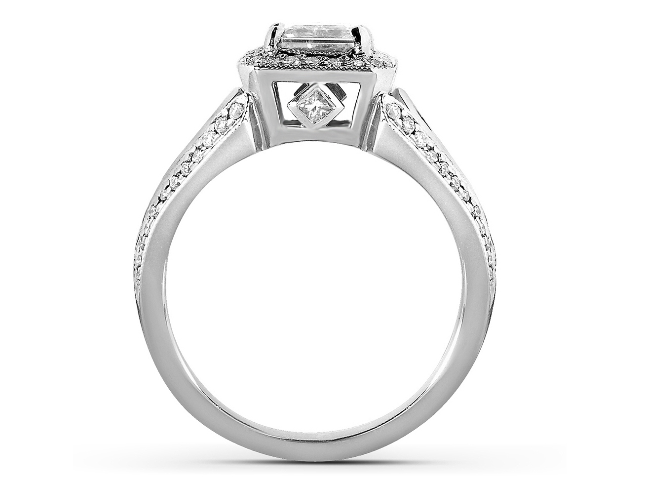 Radiant Diamond Halo Engagement Ring with Kite Shaped Accents in 14k White Gold