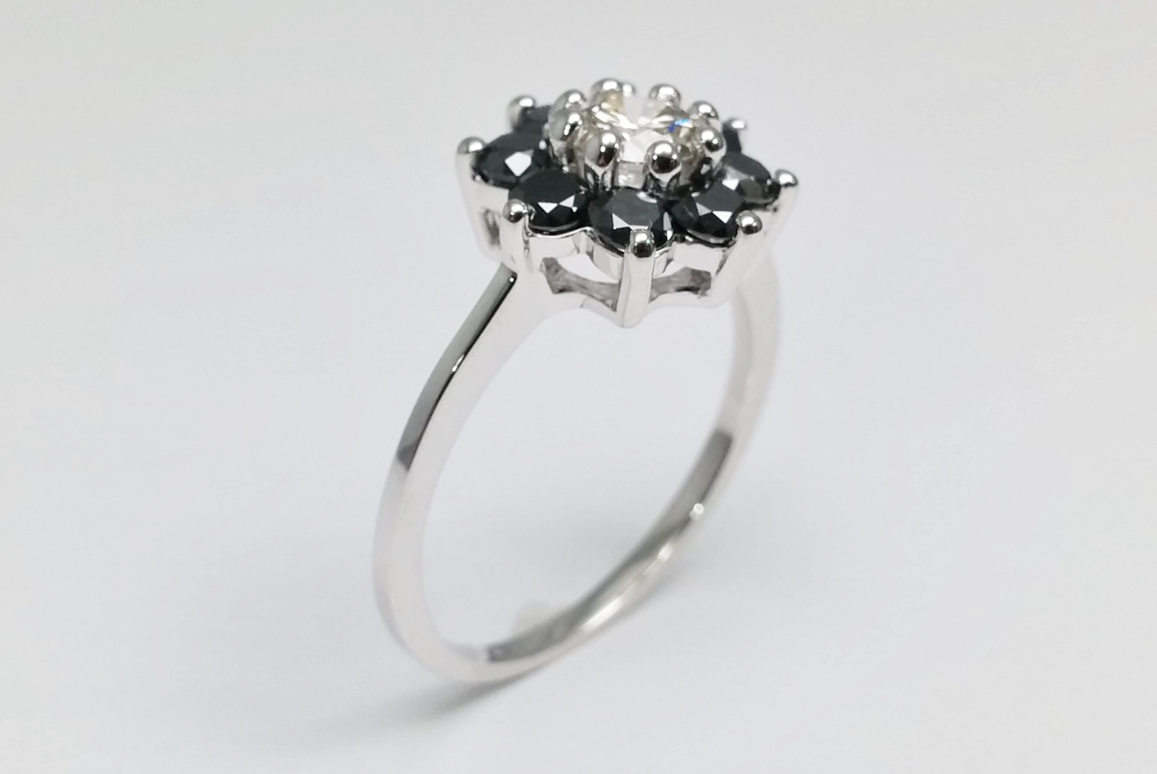 Black Diamond Floral  Engagement Ring in 14k White Gold