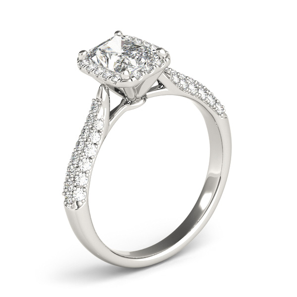 Etoil Style Radiant Diamond Halo Engagement Ring