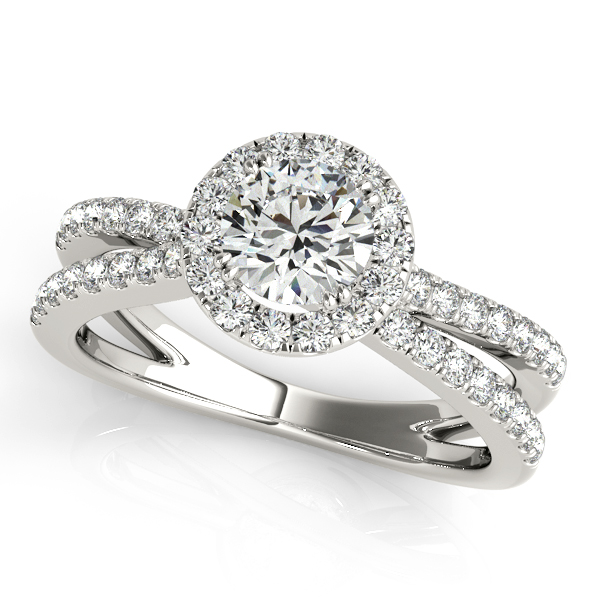 Bridge Halo Diamond Bridal Set with A Split Band