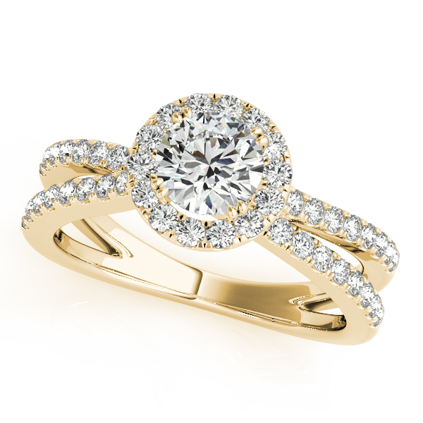 Split Band Bridge Halo Diamond Bridal Set Yellow Gold