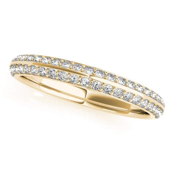 Floral Halo Double Helix Diamond Knife Edge Bridal Set in Yellow Gold